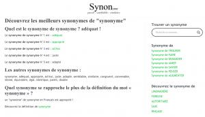 utilisation dictionnaire de synonyme Synon